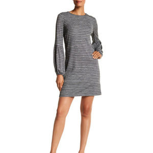 Blouson Sleeve Grey Dress